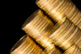The golden coins close up — Stock Photo