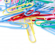 Close-up of multi-colored paper clips - Foto Stock
