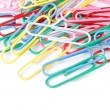 Closeup of multi-colored paper clips — Stock Photo