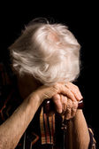Portrait of old woman a black — Stock Photo