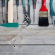 Set building tools on old boards — Stock Photo