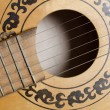 Close-up old acoustic guitar as background - Foto Stock