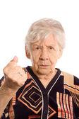 Porträtt av den gammala kvinnan isoleras på vit — Stockfoto