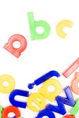 Plastic English letters isolated on white — Stock Photo