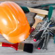 Set building tools on old boards — Stock Photo #6141323