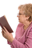 The elderly woman reads the book — 图库照片