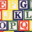 Cubes with letters close up - Foto Stock