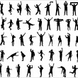 Set silhouettes of dancing boys and girls. — Stock Vector