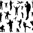 Silhouettes of a dancing and singing men. - Stockvectorbeeld