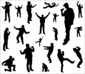 Silhouettes of a dancing and singing men. — Stock Vector