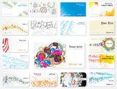 Visitenkarten zu verschiedenen themen — Stockvektor