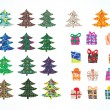 Royalty-Free Stock Vector Image: Collection Christmas Fur-tree and Gift box