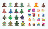 Collection Christmas Fur-tree and Gift box — Wektor stockowy