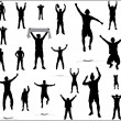 Royalty-Free Stock Vector Image: Set of poses from fans for sports championships and music concerts.