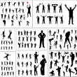 Stock Vector: Set of silhouettes of sports fans