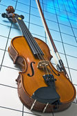 Violin on blue — Stock Photo