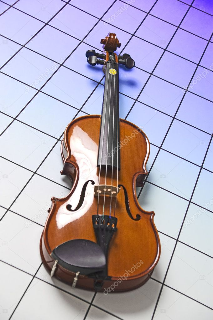 Violin on blue squares  Stock Photo #5402464