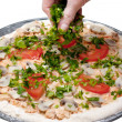 Pizza preparation — Stock Photo