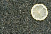 Sağlıklı gıda arka plan. limonlu yeşil çay. — Stok fotoğraf