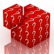 Question and guessing puzzle cube — Stockfoto