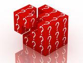 Pytanie i zgadywanie kostka — Zdjęcie stockowe