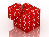 Question and guessing puzzle cube — 图库照片