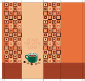 Coffee-package-design-side with squares — Stock Vector