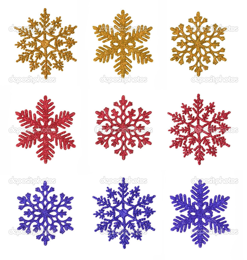 Miscellaneous glitter snowflakes of various colors isolated on white (digital collage). — Stock Photo #6037173