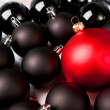 Black and red Christmas baubles. — Stock Photo