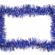 Foto Stock: Blue tinsel border