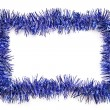 Stock Photo: Blue tinsel border