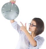 Bright picture of businesswoman with big clock — Stock Photo