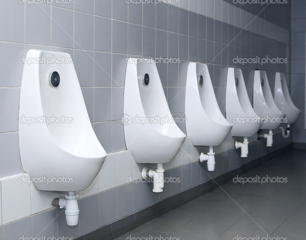 Modern restroom interior with urinal row — Stock Photo #5431067