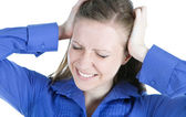 Woman with headache holding her hands to the head — Stock Photo