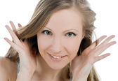 Bright picture of smiling woman face with hand her hear — Stock Photo
