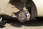 Brake disk and the chassis suspension — Stock Photo