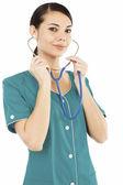 Female medical doctor with stethoscope — Stockfoto