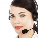 Beautiful customer service operator woman with headset — Stock Photo #5490291
