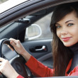 Pretty brunette driving a car — Stock Photo #5538192