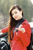 Beautiful young happy woman with car keys. — 图库照片