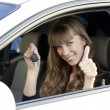 Royalty-Free Stock Photo: Beautiful young happy woman with car keys
