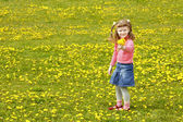 Cute little girl on the meadow — ストック写真