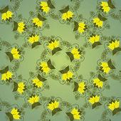 无缝花卉绿色背景. — 图库矢量图片