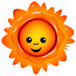 Happily smiling sun on a white background — Stock Vector