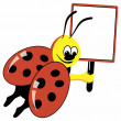 Cartoon ladybird with speech bubble — Stock Vector