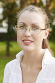 Female student in glasses — Stock Photo
