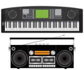 Electronic piano and tape recorder — Stock Vector