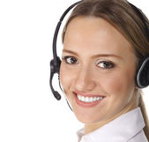 Smiling cheerful support phone operator in headset — Stock Photo