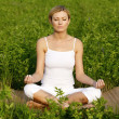 Young beautiful woman in yoga position, outdoors — Stock Photo