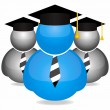 Graduation students icons — Stockvectorbeeld